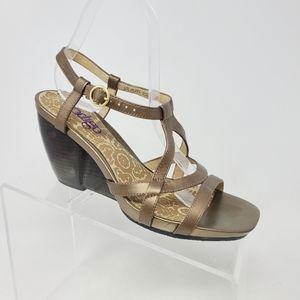 Indigo Clarks Womens 8 M Gold Bronze Leather Wedge